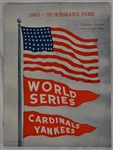 St. Louis Cardinals vs. New York Yankees 1942 World Series Program EX/MT