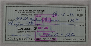 Walter Alston Signed Personal Check