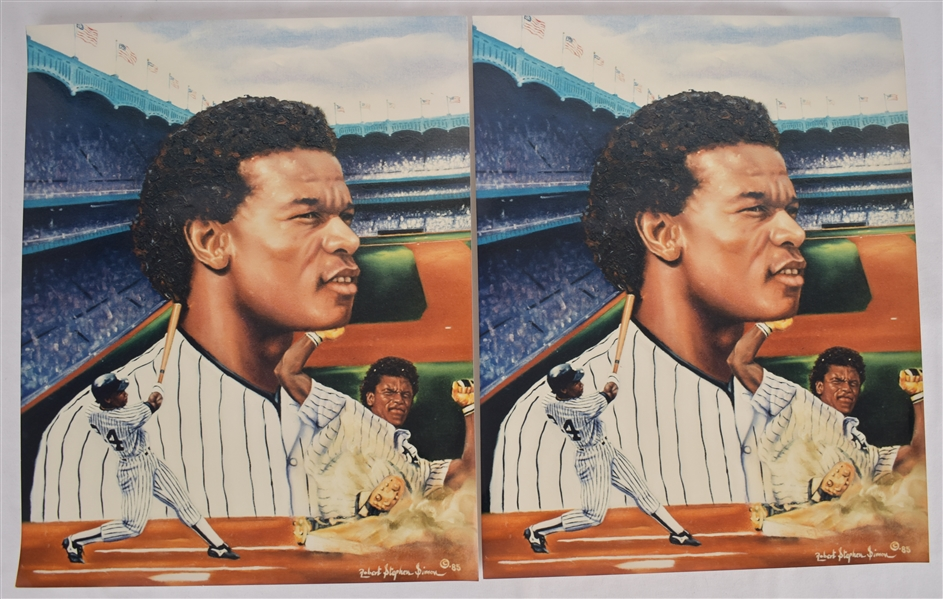 Rickey Henderson 16x20 Lot of 2 Lithographs by Robert Stephen Simon