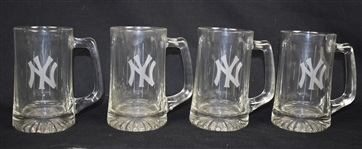 Set of Four (4) New York Yankee Clear Glass Beer Mugs