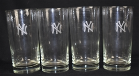 Set of Four (4) New York Yankee Drinking Glasses