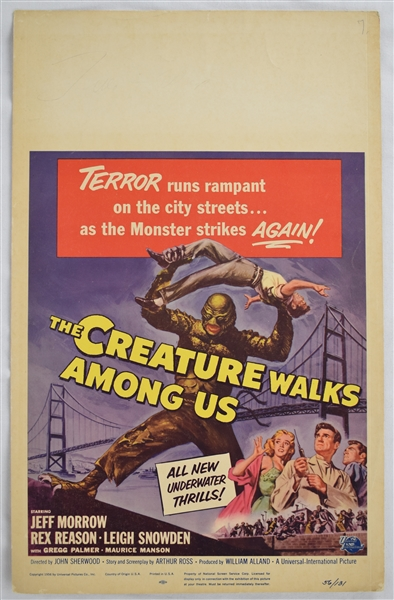 Vintage 1956 The Creature Walks Among Us Movie Poster