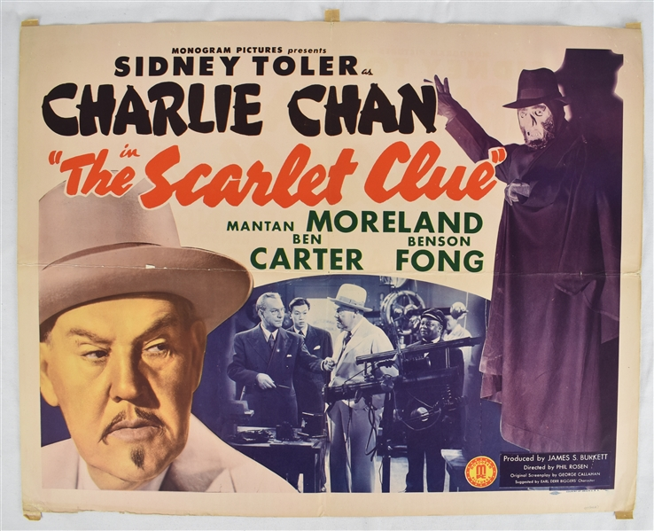 Vintage 1945 The Scarlet Clue Movie Poster