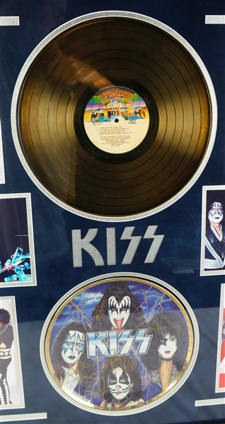 KISS Autographed Display Signed by Gene Simmons Paul Stanley Ace Frehley & Peter Criss