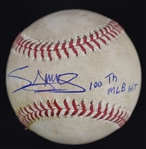 Miguel Sano Game Used & Autographed 100th ML Hit Baseball