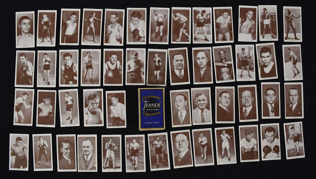 Complete Set of 1938 Churchman Boxing Personalities Cigarette Cards w/Original Pack