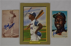 Hank Aaron Lot of 3 Autographed Cards & Perez-Steele Great Moments