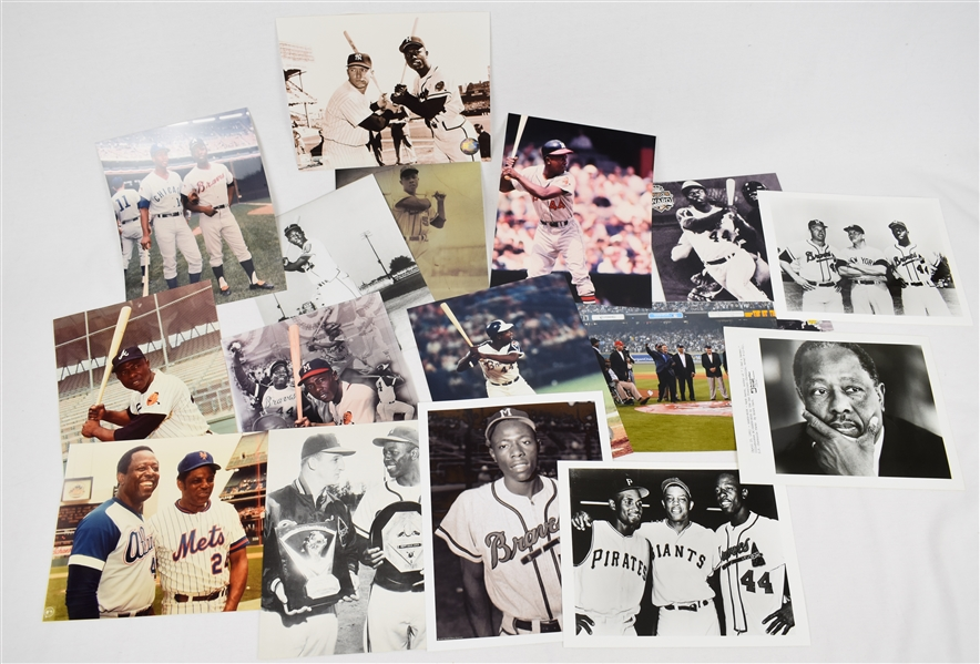 Hank Aaron Collection of 16 Photos