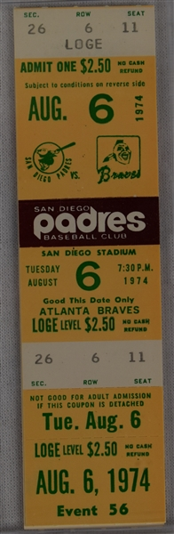 Hank Aaron Home Run Ticket HR #727 and #728 August 6 1974