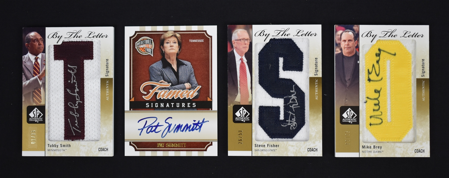 NCAA Coaches Lot of 4 Autographed Insert Cards