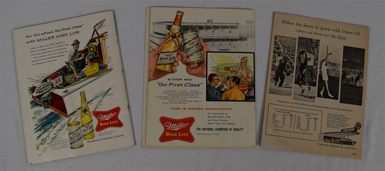 Milwaukee Braves & LA Dodgers Lot of 3 Programs