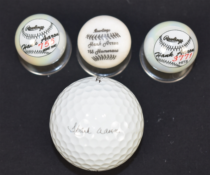 Hank Aaron Collectible Marbles & Golf Ball