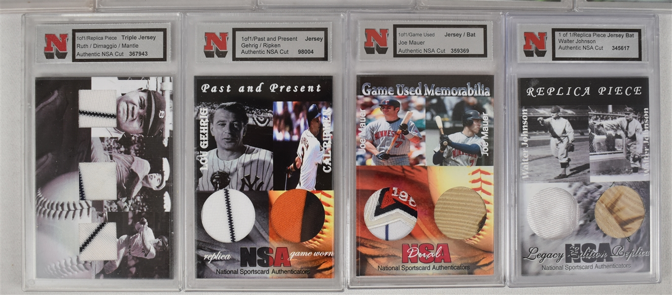 Collection of 14 NSA Game Used Jersey & Bat Cards