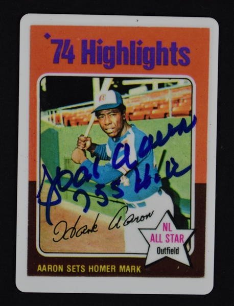 Hank Aaron Signature Series Set w/3 Autographed & Inscribed Cards