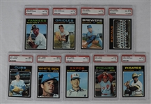 Vintage 1971 Topps Collection of 9 High Number Baseball Cards Graded PSA 8