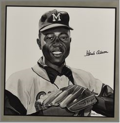 Hank Aaron Original James Fiorentino Watercolor Painting *Signed by Aaron*