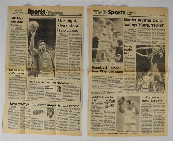 Julius Erving Dr. J Lot of 2 Autographed Newspapers