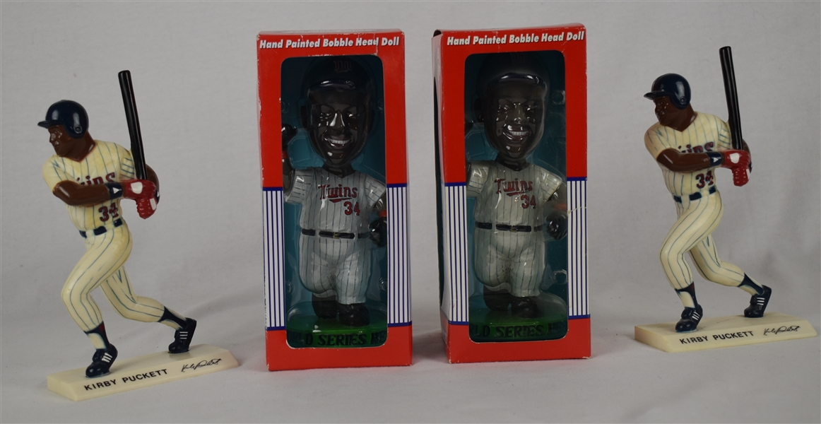 Kirby Puckett Collection of 4 Bobbleheads & Figurines