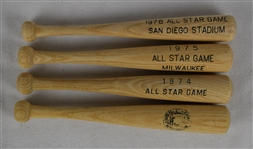 Vintage 1970s Lot of 4 All Star Game Mini Bats