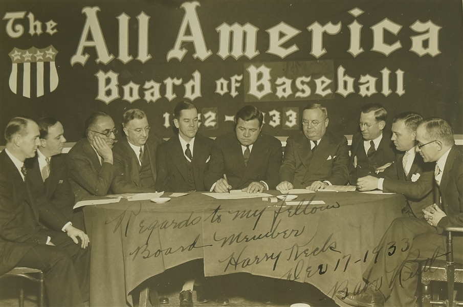 Babe Ruth 1933 The All American Board of Baseball Autographed & Inscribed Photograph JSA LOA