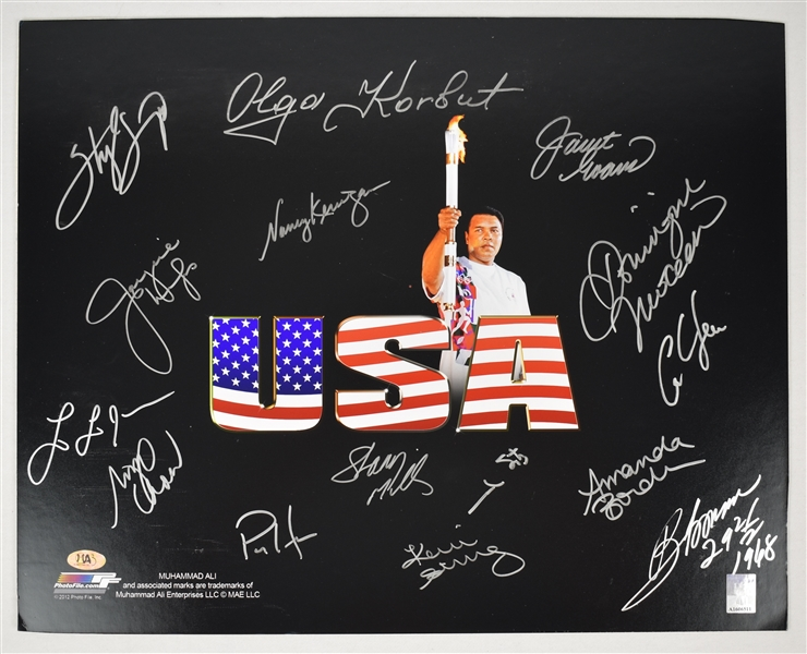 Muhammad Ali Autographed 16x20 Olympic Photo w/15 Signatures