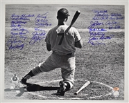 Mickey Mantle 16x20 Photo Autographed by Yankees w/14 Signatures Inc Berra & Ford