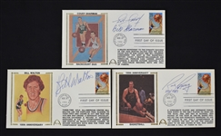 Collection of 3 NBA Autographed First Day Covers w/Cousy & Walton