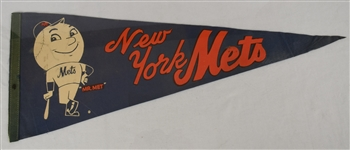 Vintage 1970s New York Mets Pennant w/Rare Green Banner