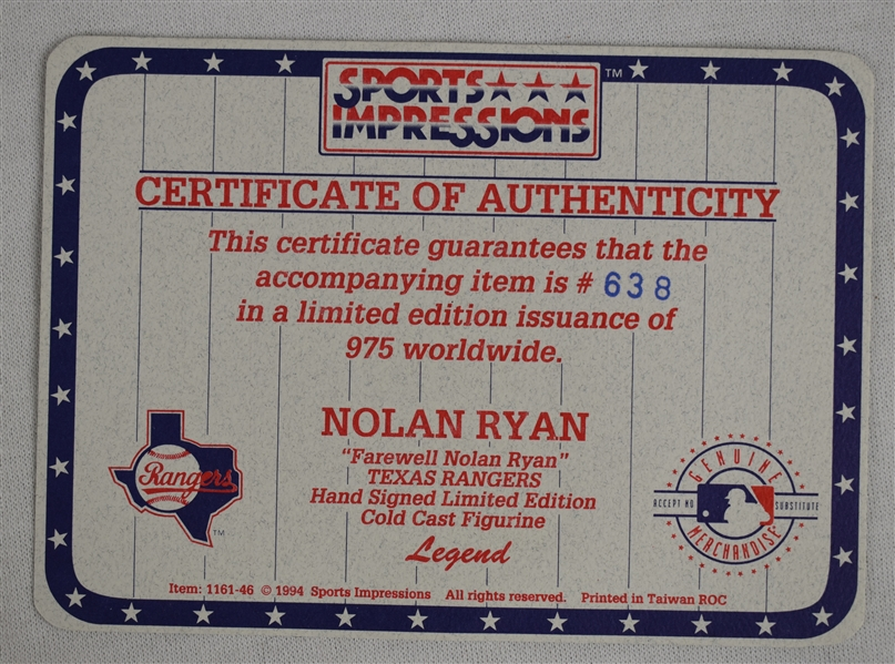 Nolan Ryan Autographed Limited Edition Sports Impressions Figurine