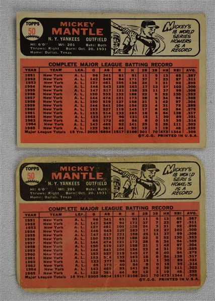 Mickey Mantle Lot of 2 Vintage 1966 Topps Cards