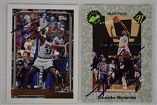 Shaquille ONeal & Dikembe Mutombo Autographed Rookie Cards