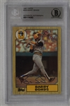 Barry Bonds Autographed 1987 Topps Rookie Card BAS
