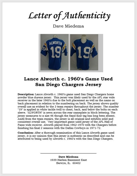 Lance Alworth c. 1960's Game Used San Diego Chargers Jersey w/Dave Miedema LOA
