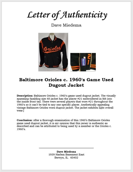 Baltimore Orioles c. 1960's Game Used Dugout Jacket w/Dave Miedema LOA