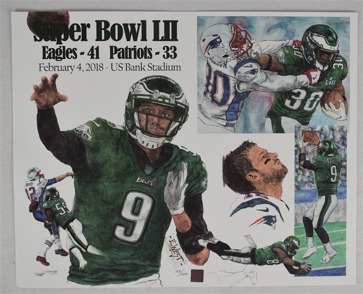Philadelphia Eagles vs. New England Patriots Super Bowl LIII Lithograph