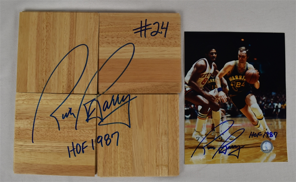 Rick Barry Autographed Floor & Photo