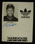 Kirby Puckett Autographed 1984 Rookie Adidas Sheet