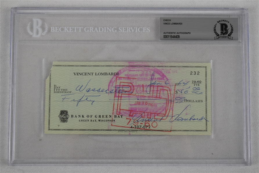 Vince Lombardi Signed 1964 Personal Check #232 BGS Authentic