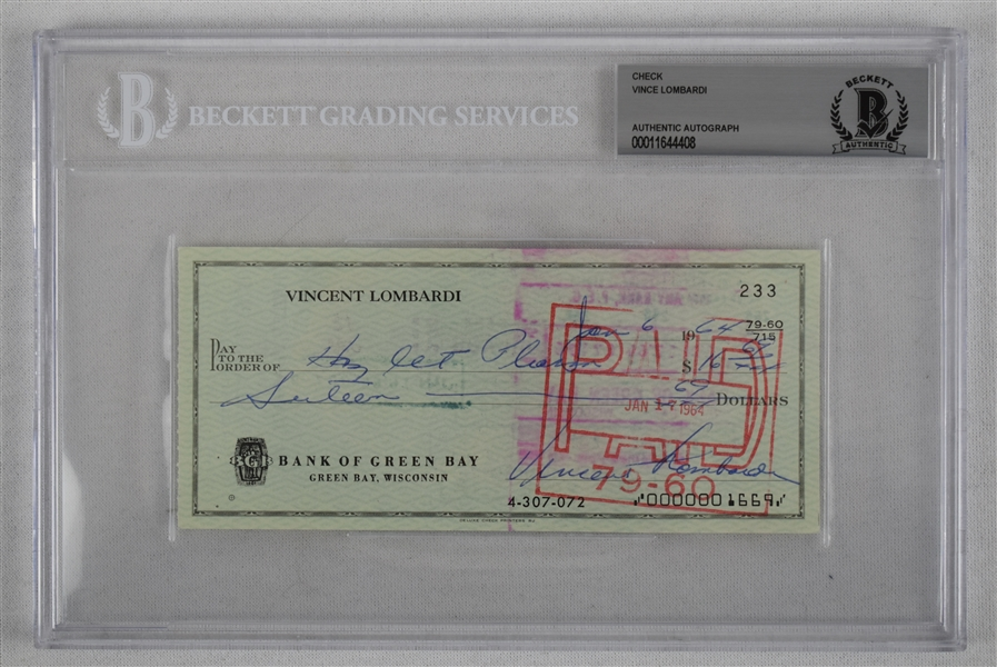 Vince Lombardi Signed 1964 Personal Check #233 BGS Authentic