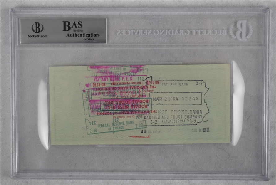 Vince Lombardi Signed 1964 Personal Check #246 BGS Authentic
