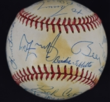 Hall of Fame Multi-Signed Baseball w/Yogi Berra Hank Aaron & Stan Musial JSA LOA