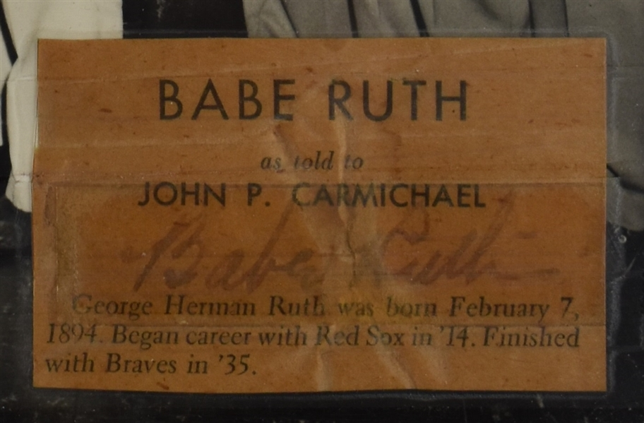 Babe Ruth 1947 Autographed Photo Display w/Full JSA LOA