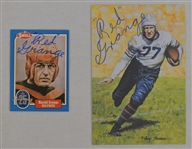 Red Grange Autographed Goal Line Art Card & Football Card
