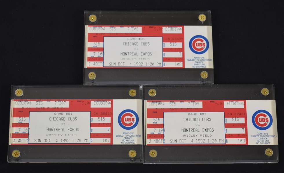 Andre Dawson Lot of 3 HR #399 Tickets