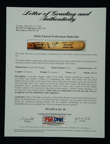 Kirby Puckett 1993 Minnesota Twins Game Used & Autographed Bat Graded a Perfect PSA/DNA 10