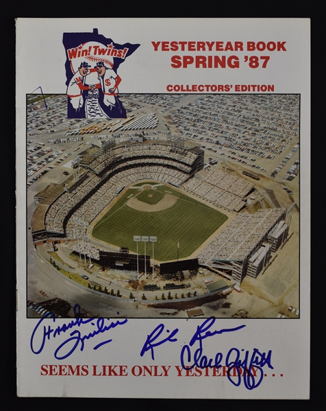 Calvin Griffith II Frank Quilic & Rick Renick Signed 1987 Minnesota Twins Yearbook