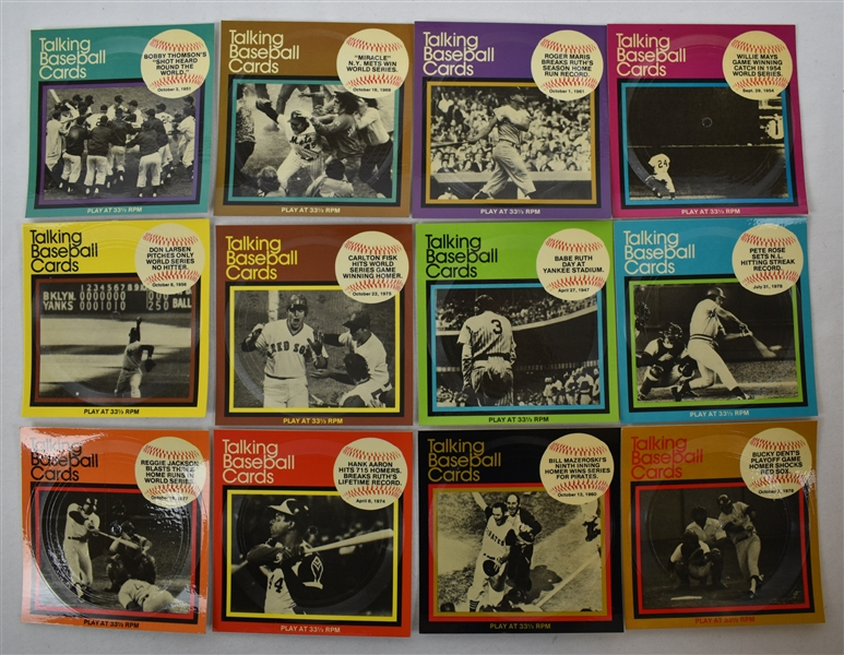 Vintage 1979 Set of 12 Talking Baseball Cards w/Babe Ruth