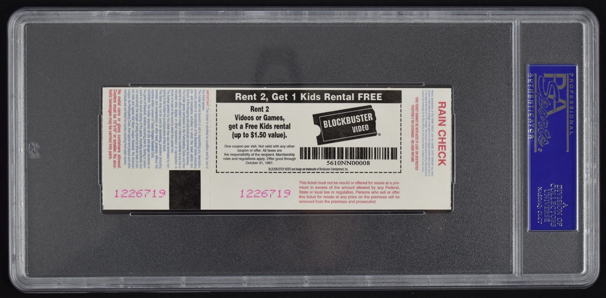 Vintage 1997 First Interleague Baseball Game Ticket PSA 9
