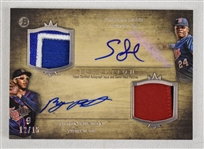 Byron Buxton & Miguel Sano Dual Signed 2014 Bowman Inception Patch Card #12/15