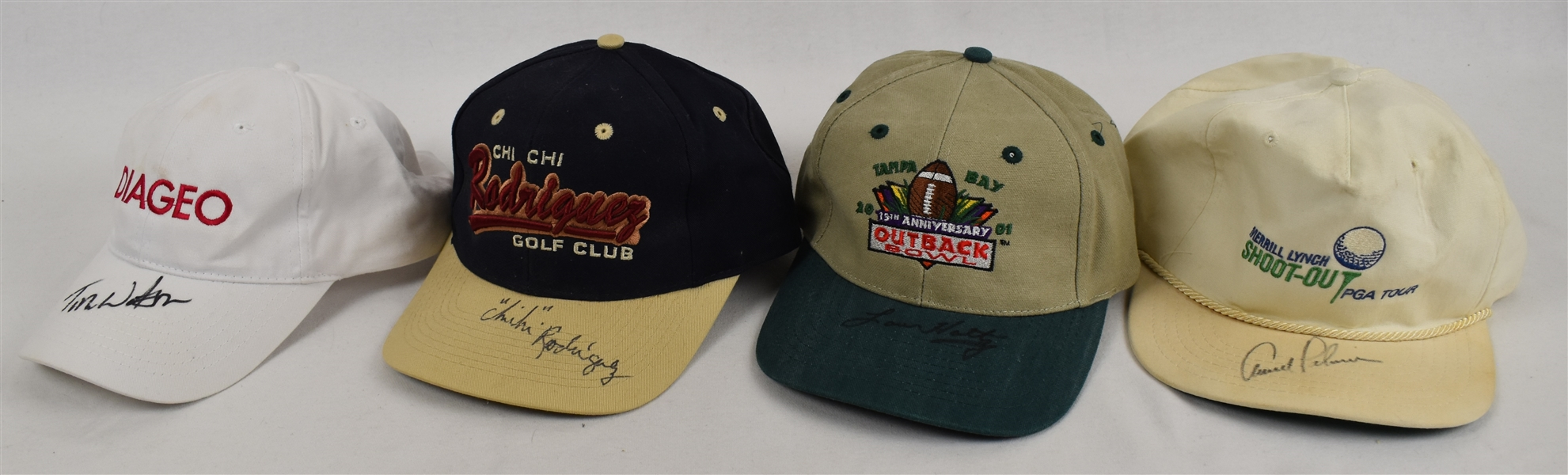 Arnold Palmer Lou Holtz Tom Watson Chi Chi Rodriguez Signed Hats